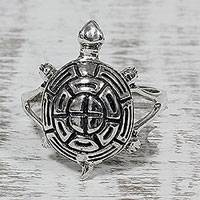 Sterling silver cocktail ring, 'Turtle Maze' - 925 Sterling Silver Turtle Cocktail Ring from India