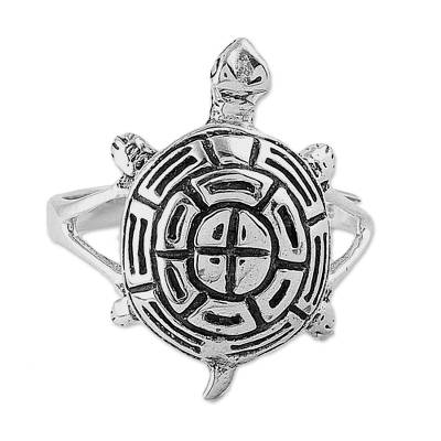 Fair Trade Sterling Silver Cute Turtle Shaped Cocktail Ring