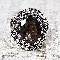 Smoky quartz cocktail ring, 'Leafy Delight' - Smoky Quartz Leaf Cocktail Ring by Indian Artisans