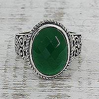 Onyx cocktail ring, 'Green Gleam' - Green Onyx and Sterling Silver Cocktail Ring from India