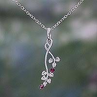 Tourmaline pendant necklace, 'Pink Cherries' - Tourmaline and Sterling Silver Leaf Necklace from India