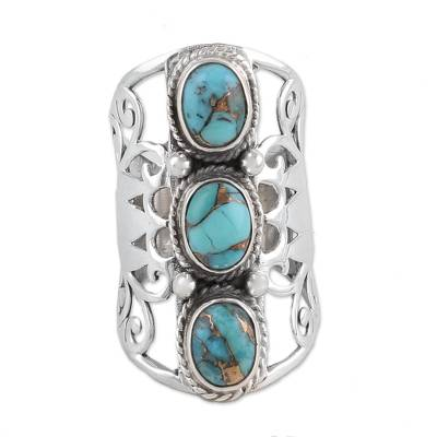 Sterling silver cocktail ring, 'Blissful Trio in Blue' - Sterling Silver and Blue Composite Turquoise Ring from India