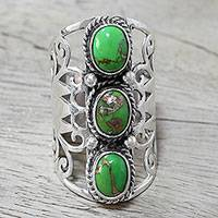 Sterling silver cocktail ring, 'Blissful Trio in Green' - Sterling Silver and Green Composite Turquoise Cocktail Ring