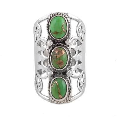 Sterling Silver and Green Composite Turquoise Cocktail Ring