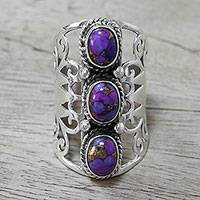 Sterling silver cocktail ring, 'Blissful Trio in Purple' - Indian Sterling Silver and Purple Composite Turquoise Ring