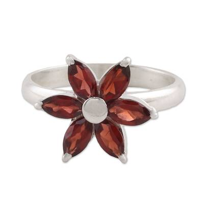 Garnet and Sterling Silver Floral Ring from India
