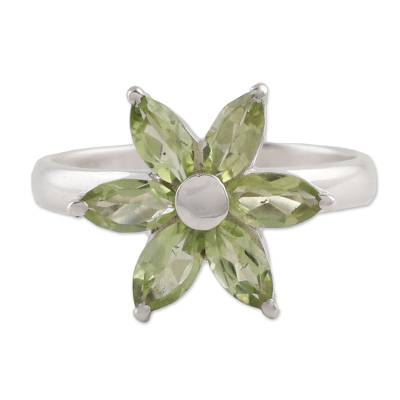 Peridot and Sterling Silver Floral Ring from India