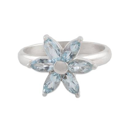 Blue Topaz and Sterling Silver Floral Ring from India