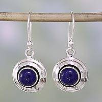 Lapis lazuli dangle earrings, 'Midnight Discs' - Contemporary Lapis Lazuli and Sterling Silver Earrings