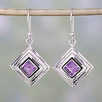 Amethyst dangle earrings, 'Feminine Purple' - Amethyst and Sterling Silver Modern Earrings from India