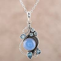 Chalcedony and blue topaz pendant necklace, 'Misty Vine' - Chalcedony and Blue Topaz Pendant Necklace from India