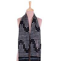 Cotton scarf, 'Beautiful Bubbles' - Bubble Motif Printed Cotton Scarf in Ebony from India