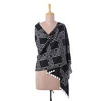 Cotton shawl, 'Bubbly Elegance' - Printed Bubble Motif Cotton Shawl in Ebony from India