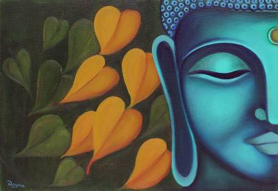 'Moksha - The Final Truth' - Signed Painting of Buddha with Leaves from India