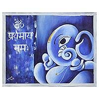'Blue Ganesha' - Signed Blue Expressionist Painting of Ganesha from India