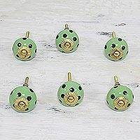 Ceramic knobs, 'Polka Dot Green' (set of 6) - Six Hand Painted Ceramic Knobs in Green and Black from India
