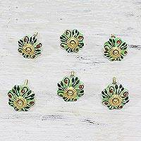 Ceramic knobs, 'Verdant Petals' (set of 6) - Six Hand Painted Ceramic Floral Knobs in Green from India