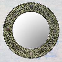 Aluminum mirror, 'Antique Magnificence' - Handcrafted Round Antiqued Aluminum Mirror from India