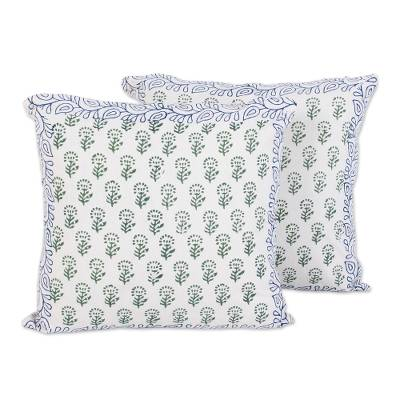 Cotton cushion covers, 'Garden Green' (pair) - Green on White Floral Block Print Cushion Covers (Pair)