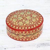 Papier mache decorative box, 'Serene Vermilion' - Gold and Red Papier Mache Decorative Box from India