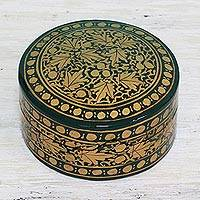 Papier mache decorative box, 'Alluring Viridescence' - Green and Gold Papier Mache Decorative Box from India
