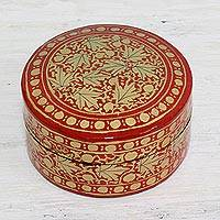 Papier mache decorative box, 'Alluring Vermilion' - Gold and Red Papier Mache Decorative Box from India