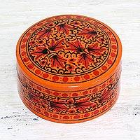 Papier mache decorative box, 'Alluring Delight' - Hand Painted Papier Mache Decorative Box from India