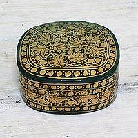 Papier mache decorative box, 'Graceful Viridescence' - Green and Gold Papier Mache Decorative Box from India