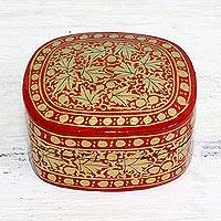 Papier mache decorative box, 'Graceful Vermilion' - Red and Gold Papier Mache Decorative Box from India