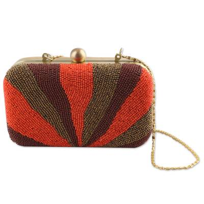 Beaded evening bag, 'Flames of Elegance' - Beaded Evening Bag Clutch and Shoulder Bag Style from India