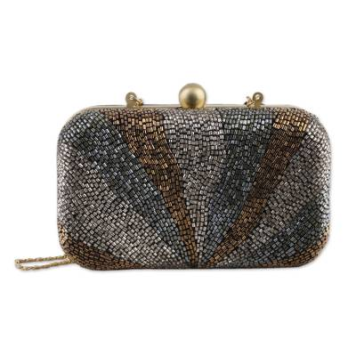 Beaded Evening Handbag with Optional Strap from India