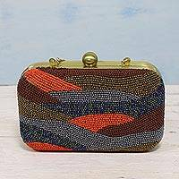 Beaded evening bag, 'Vibrant Waves' - Multicolor Beaded Evening Bag Clutch and Shoulder Bag Style
