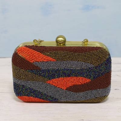 Beaded evening bag, Vibrant Waves