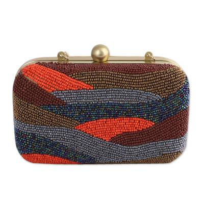 Novica Beaded evening bag, Vibrant Waves