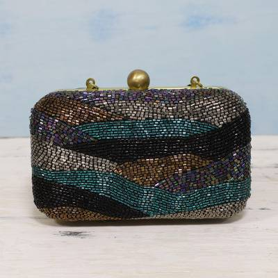 Beaded evening bag, 'Sparkling Waves' - Metallic Beaded Evening Clutch or Shoulder Bag