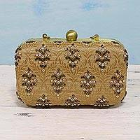 Beaded evening bag, 'Vintage Style' - Beaded Clutch Handbag with Brocade Leaf Pattern