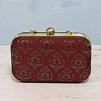 Evening bag, 'Maroon Grandeur' - India Zari Brocade on Clutch and Shoulder Bag Evening Bag