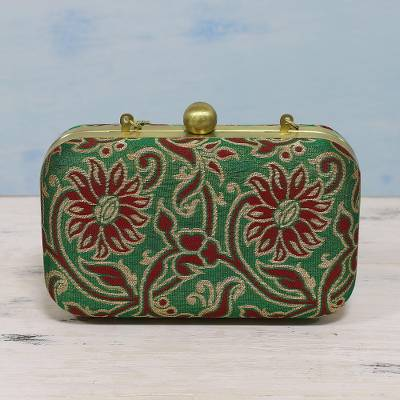 Brocade evening bag, 'Dancing Flowers' - Red and Green Floral Evening Bag from India