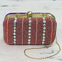 Embellished evening bag, 'Sparkling Grandeur' - Glittering Beaded Evening Bag Clutch and Shoulder Bag Style