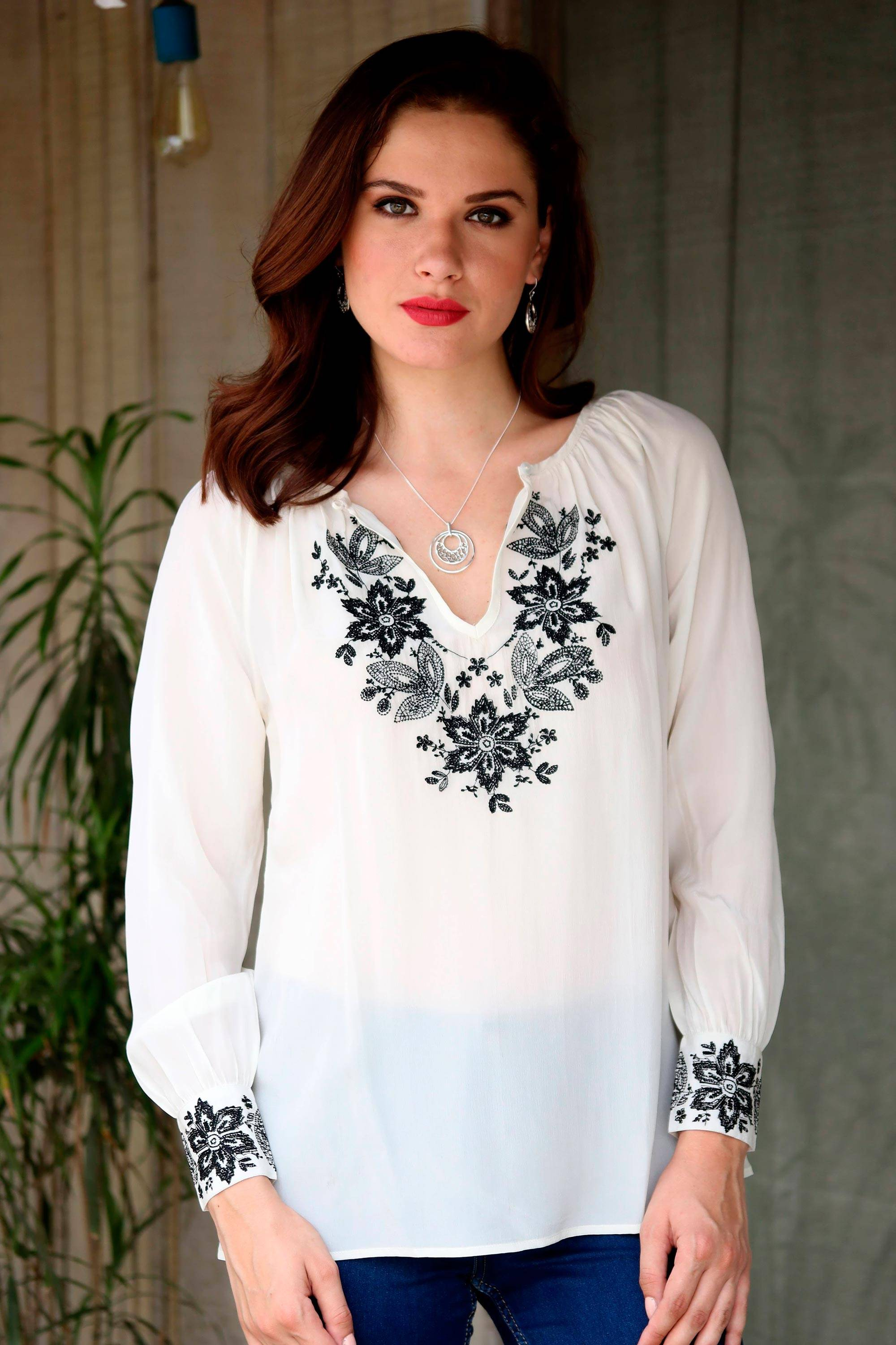 98e985b9f6 UNICEF Market | Ivory Silk Long-Sleeved Blouse with Black Floral ...