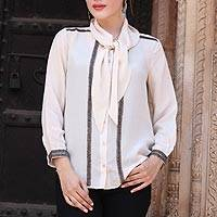 Silk blouse, 'Dazzling Alabaster' - 100% Silk Button Down Blouse with Tie Neck in Ecru