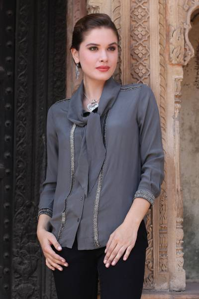 Silk blouse, 'Dazzling Flint' - 100% Silk Blouse in Flint Grey with Beaded Accents