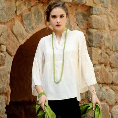 Silk tunic, 'Serene Breeze' - 100% Silk Ecru-Colored Tunic with Bell Sleeves from India