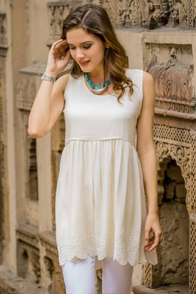 e7cb09b7ed Short Ivory Silk Dress with Embroidered Flowers from India ...