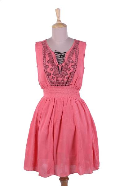 Sleeveless Crinkled Rayon Dress in Rosy Pink