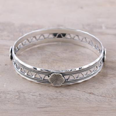 Sterling silver bangle bracelet, 'Floral Wave' - Floral Sterling Silver Bangle Bracelet from India