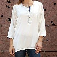 Viscose tunic, 'Classic Cloud' - Artisan Crafted Natural White Tunic from India