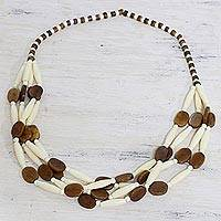 Bone beaded necklace, 'Earth's Light' - Handcrafted Brown and White Bone Beaded Necklace from India