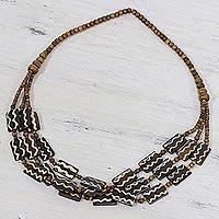 Bone beaded necklace,