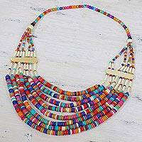 Bone long beaded necklace, 'Ecstatic Celebration' - Colorful Beaded Bone Statement Necklace from India